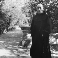 1934. Le Père Marie-Eugène devant le Parc de Notre-Dame de Vie (Venasque) / In Notre-Dame de Vie's Park